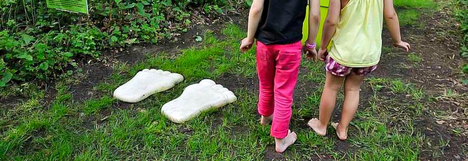 Randonnée pieds nus sur un sentier sensoriel
