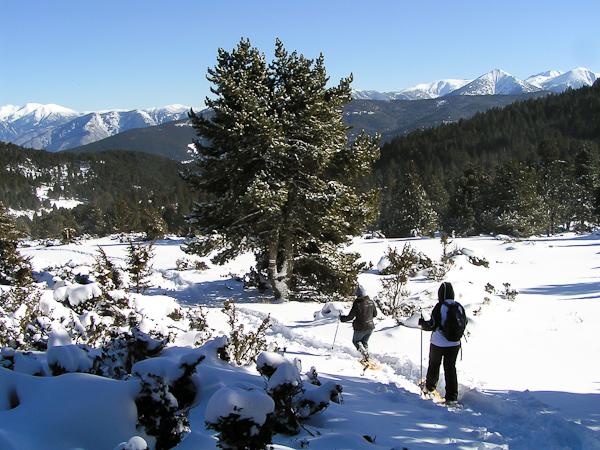 Découverte des Garrotxes en randonnée raquettes à neige