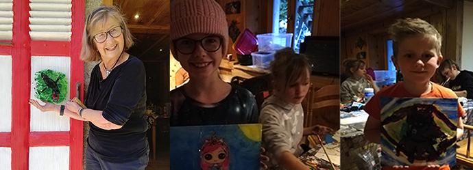 Ateliers de peinture inversée face au Mont Blanc