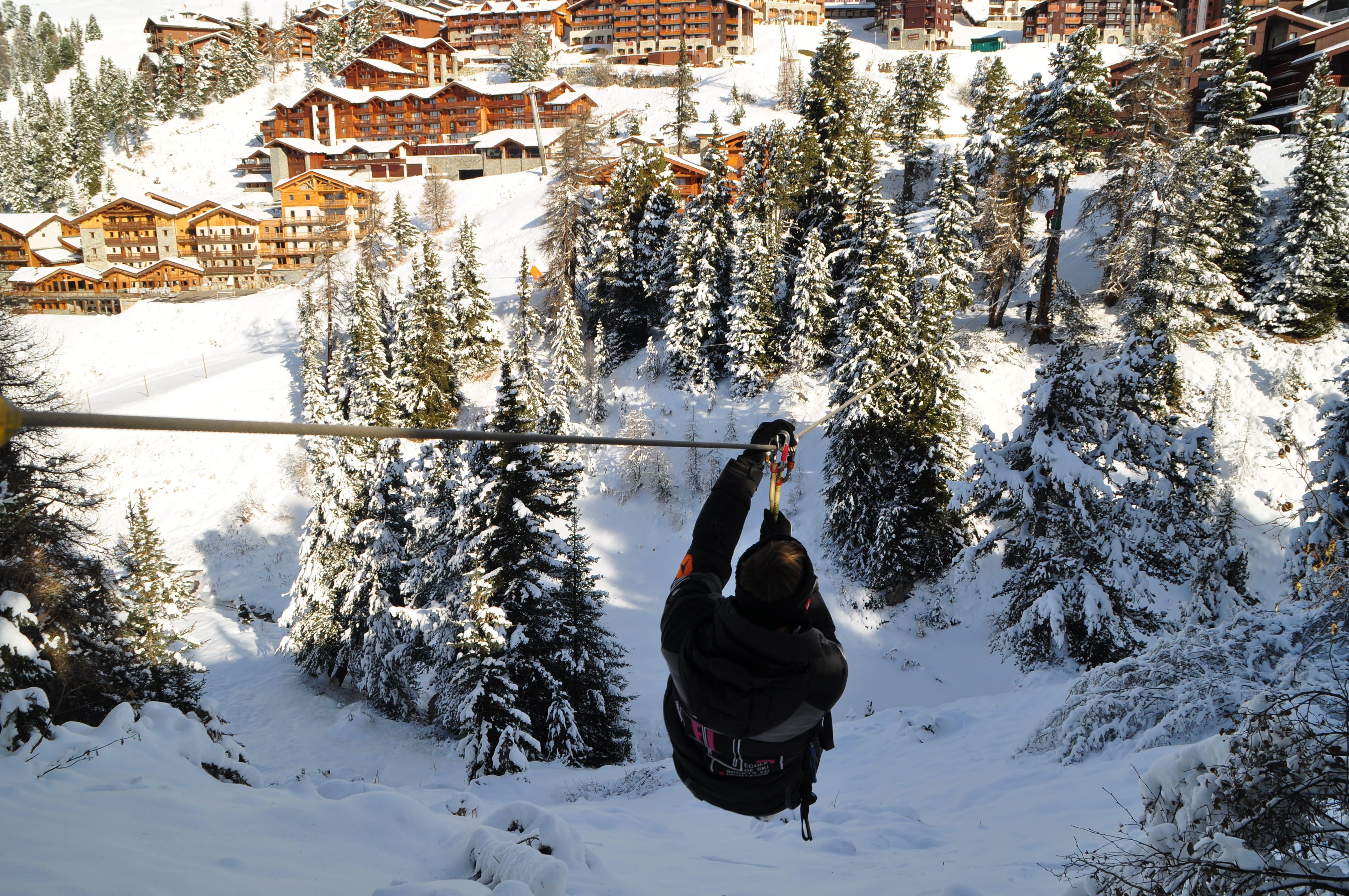 Cascade de tyroliennes sur Belle Plagne