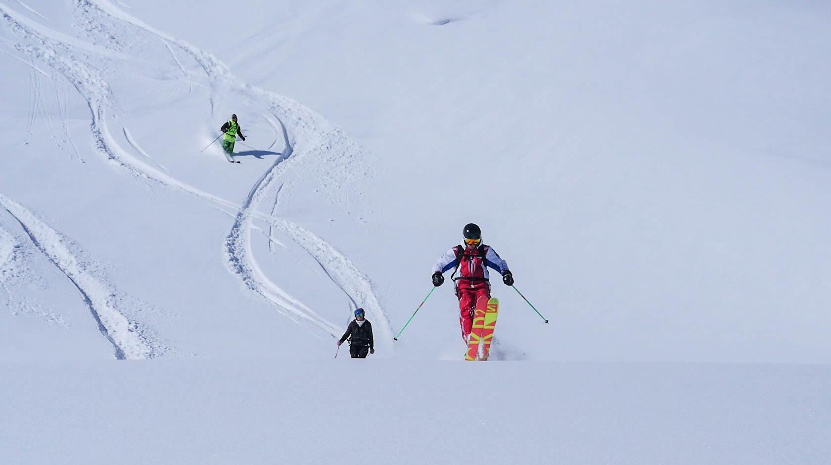 Session de ski hors-piste sur les 3 Vallées
