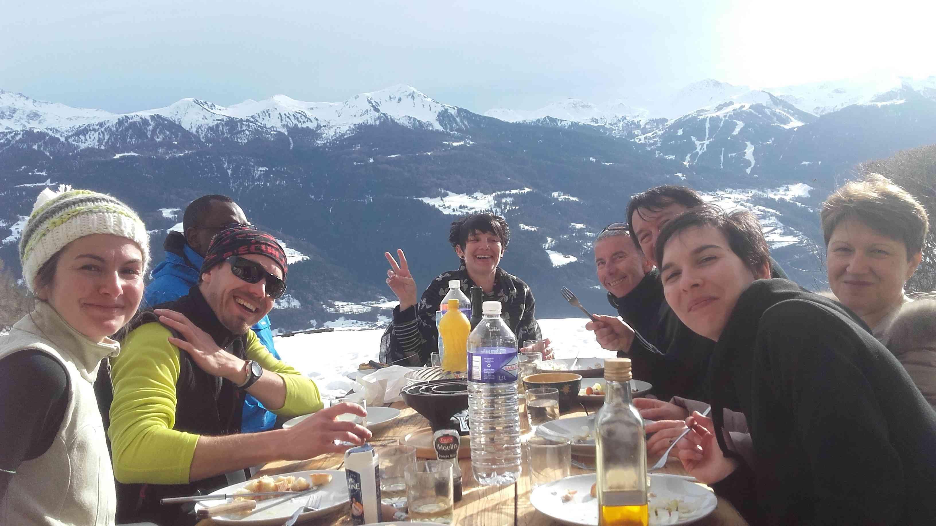 Journée raquettes et repas au chalet sur Les Arcs