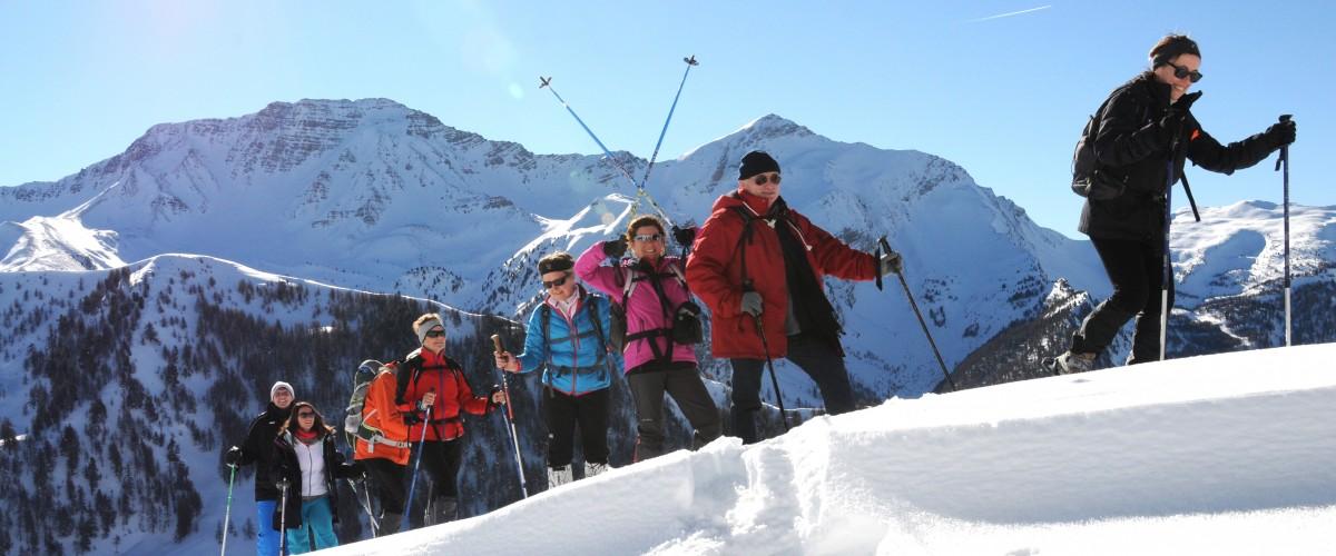 Randonnée accompagnée en raquettes à neige à Risoul
