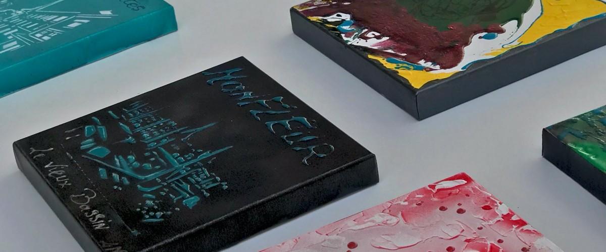 Atelier peinture Acrylique et Résine art abstrait en Galerie à Honfleur