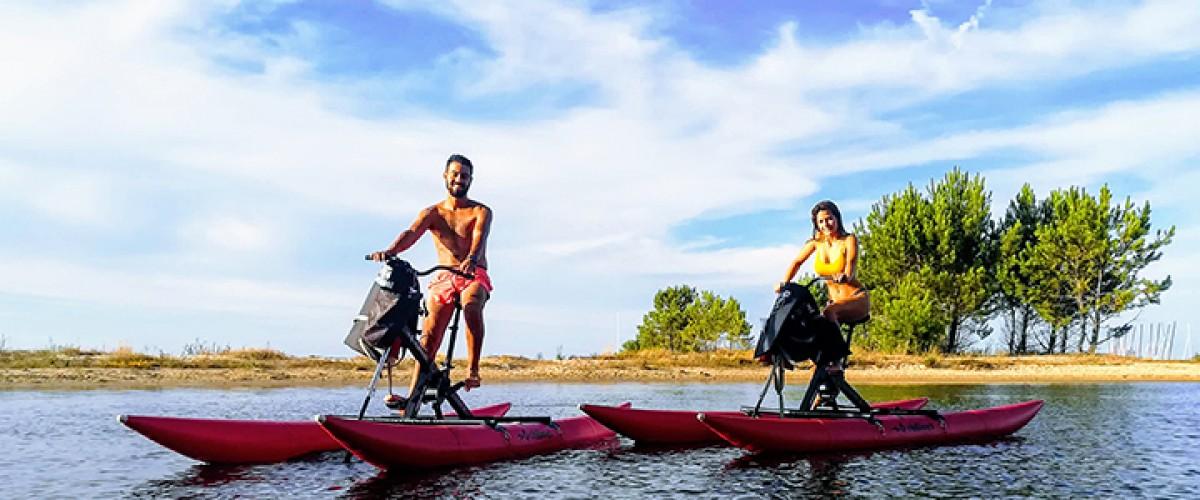 Parcours d'orientation en waterbike, vélo sur l'eau à Navarrosse