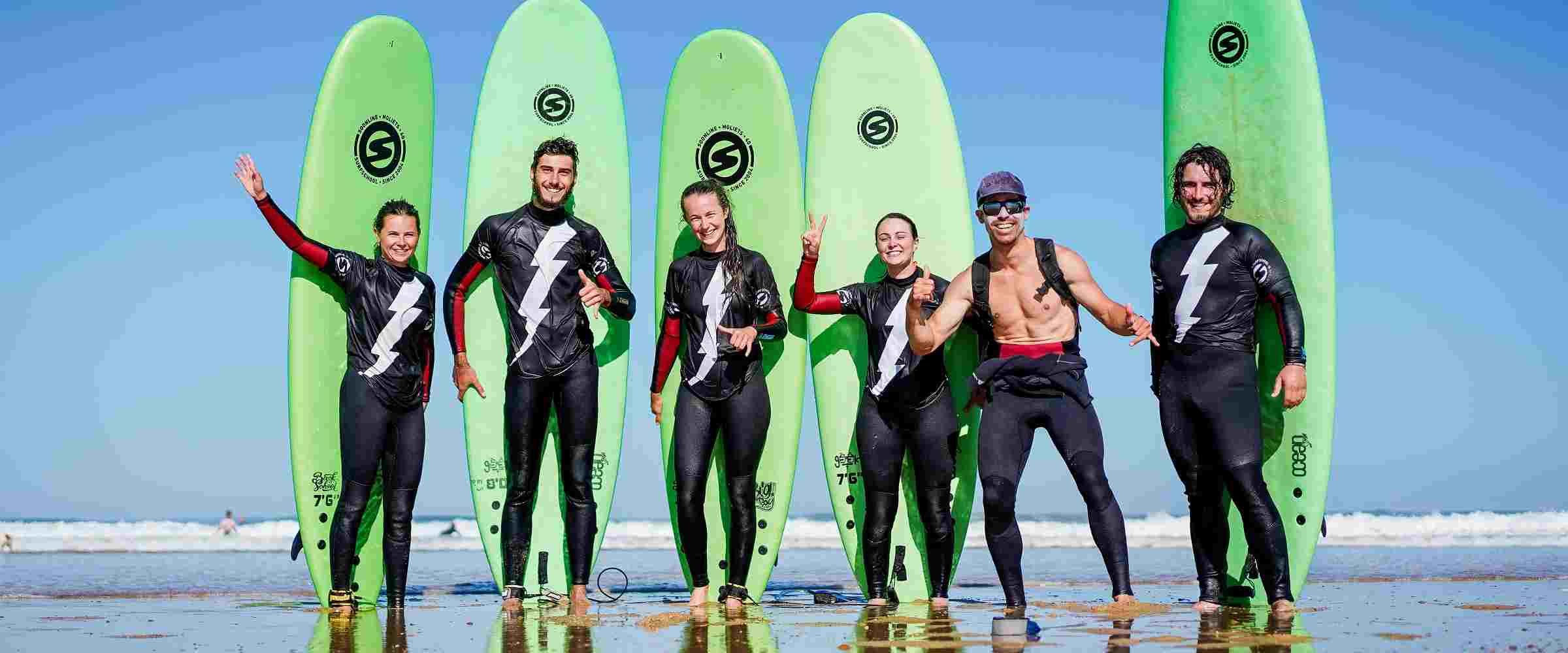Initiation au surf à Moliets plage